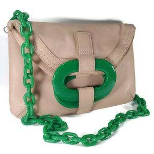 Orla Kiely Jade Green Chain Leather Bag Clutch
